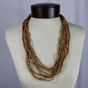 Wooden Bead Long Layered Necklace